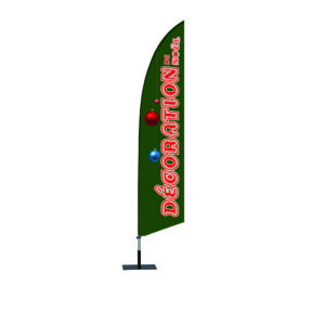 Drapeau oriflamme DECORATION DE NOEL forme aile 430 X 1953 mm + mat + socle