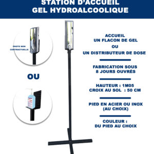 Support gel hydroalcoolique pied acier