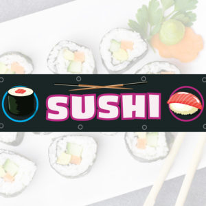 Bâche publicitaire Sushi dimension : 730 x 1250 mm